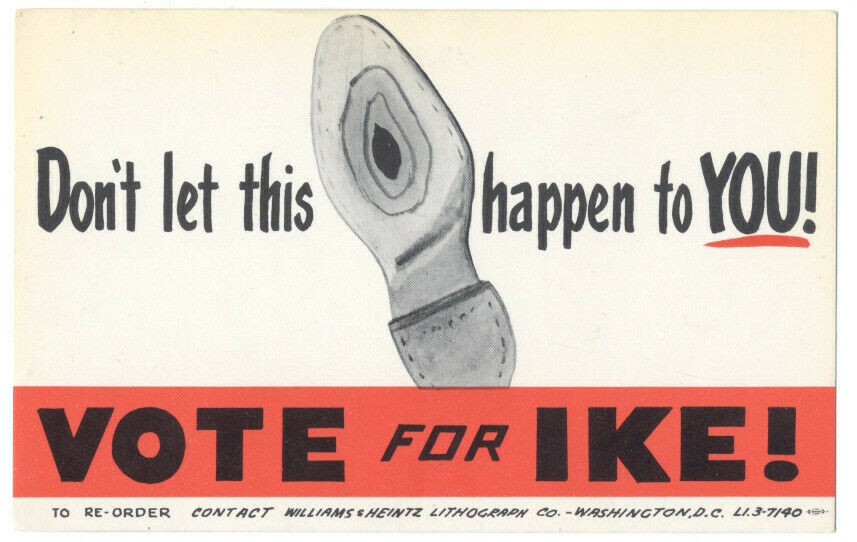Eisenhower Presidential Campaign Postcard.