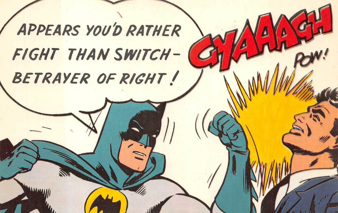 batman fight than switch postcard