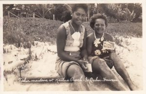 """""""Fisher Maidens at Kailua Beach."""" This was my first Nielen postcard and look at the postcards the girls are holding! 1936"""