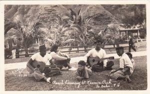 """""""Beach Harmony at Kaaawa Park, Is. Oahu, TH."""" These are not the typical beach boys but a group of friends playing music. 1936"""