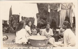 """""""Wash Day in Squatter Land."""" Here is another view that does not feature the """"romantic"""" image we associate with the islands. It also uses what I consider the derogatory term """"squatters."""" 1923"""