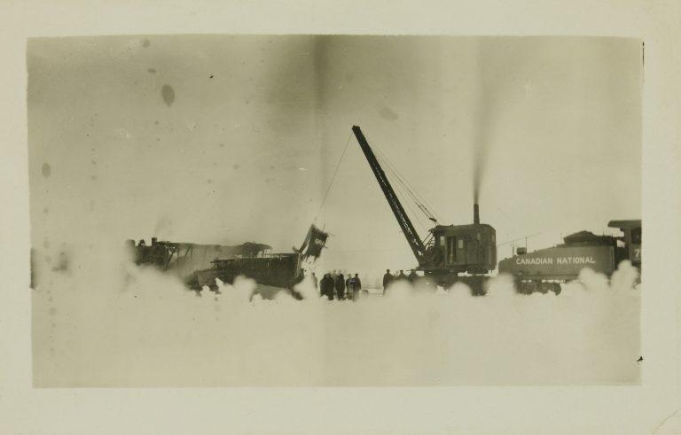 Train wreck near Rivers, Manitoba, 1921.